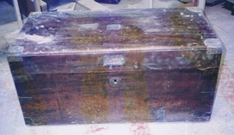 timber chest restoration before